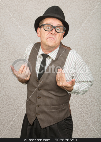 Upset Businessman stock photo, Upset white businessman with hat and eyeglasses by Scott Griessel