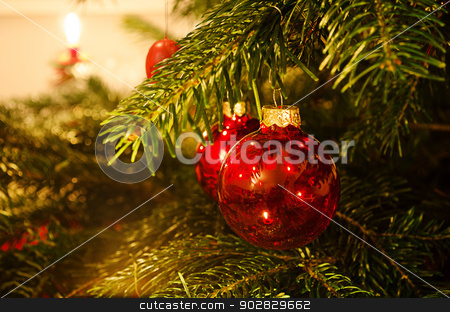 Christmas decoration stock photo, Decoration on traditional christmas tree. by Nils Prause