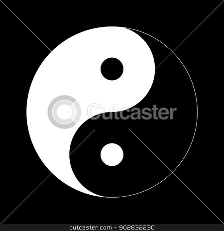 Yin Yang stock photo, Yin Yang Day Night opposite or contrary forces. by Henrik Lehnerer
