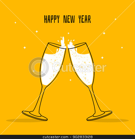 Two Glasses of champagne stock vector clipart, Vector illustration of Two Glasses of champagne by SonneOn