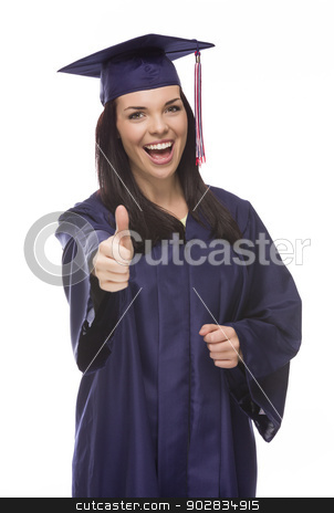 Mixed Race Graduate in Cap and Gown with Thumbs Up stock photo, Happy Graduating Mixed Race Female Wearing Cap and Gown with Thumbs Up Isolated on a White Background.  by Andy Dean