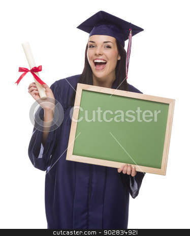 Female Graduate in Cap and Gown Holding Diploma,Blank Chalkboar stock photo, Happy Graduating Mixed Race Female Wearing Cap and Gown Holding a Blank Chalkboard and Diploma Isolated on a White Background.  by Andy Dean