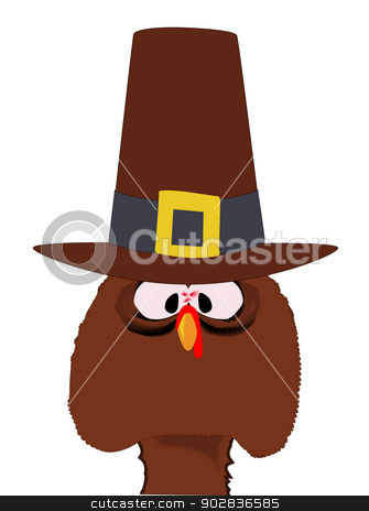 Pilgrim Turkey stock vector clipart, A cartoon Thanksgiving turkey with pilgrim hat, isolated over a white background. by Kotto