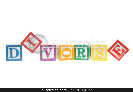 Letter blocks spelling divorse isolated on a white background stock photo, Letter blocks spelling divorse isolated on a white background by Richard Nelson