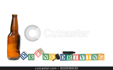 Letter blocks spelling drunk driving with keys and a beer bottle stock photo, Letter blocks spelling drunk driving with keys and a beer bottle. Isolated on a white background. by Richard Nelson