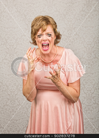 Screaming Pregnant Lady stock photo, Single pregnant person in pink dress screaming by Scott Griessel