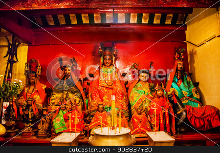 Chinese Gods Man Mo Temple  Hong Kong stock photo, Chinese Gods Man Tai Man Cheong Man Mo Temple Hollywood Road Hong Kong Island. Temple was built in 1847 and is one of the oldest temple on Hong Kong Island.  Man Tai is the literature god. by William Perry