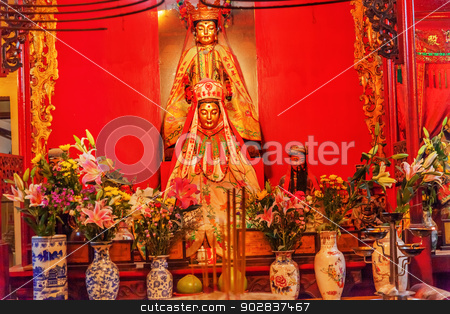 Chinese Gods Man Mo Temple  Hong Kong stock photo, Chinese Gods Incense Flowers Vases Man Tai Man Cheong Man Mo Temple Hollywood Road Hong Kong Island. Temple was built in 1847 and is one of the oldest temple on Hong Kong Island.  Man Tai is the literature god. by William Perry