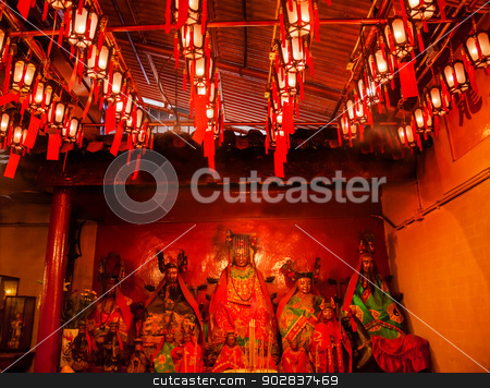 Chinese Gods Lanterns Man Mo Temple  Hong Kong stock photo, Chinese Gods Man Tai Man Cheong Lanterns Man Mo Temple Hollywood Road Hong Kong Island. Temple was built in 1847 and is one of the oldest temple on Hong Kong Island.  Man Tai is the literature god. by William Perry