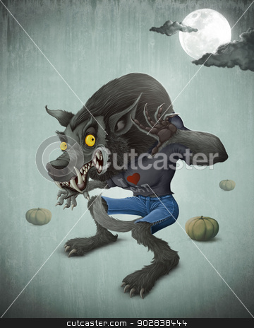 Halloween Wolfman stock photo, Wolfman and pumpkins under the moon for halloween creepy night by Giordano Aita