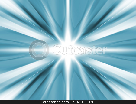 White star on a blue background stock photo, White star on a cold blue background by steve ball