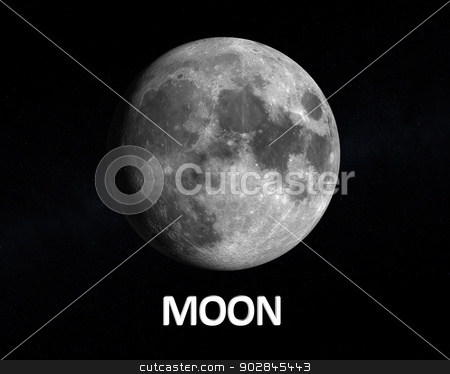 The Moon stock photo, A rendering of our Earth Moon on a slightly starry background with english caption. by Tristan3D