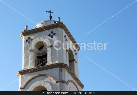 Ojai Post Office Tower stock photo, Ojai Post Office Bell Tower with blue sky in the background. by Henrik Lehnerer