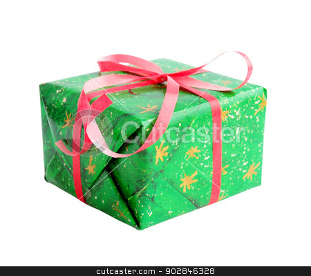 Gift in  green stock photo, Gift in the green wrapper on the white by Iuliia   Malivanchuk