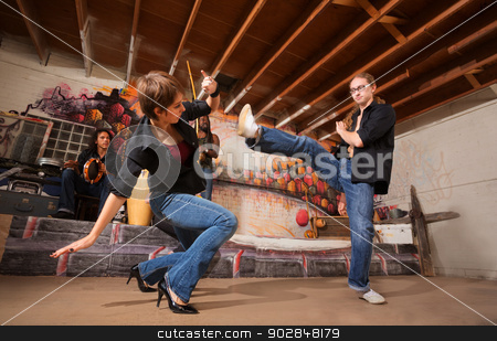 Capoeira Partners Practicing stock photo, Male and female capoeira performers practicing kicks by Scott Griessel