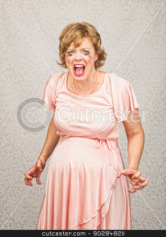 Desperate Pregnant Lady stock photo, Desperate pregnant person in pink dress on gray background by Scott Griessel