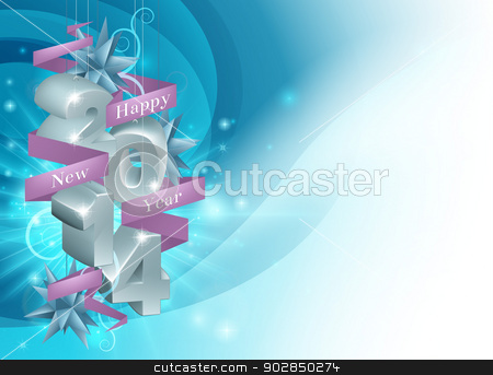 Happy New Year 2014 Background stock vector clipart, Illustration of a Happy New Year 2014 background in blue. Illustration framing copyspace. by Christos Georghiou