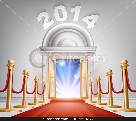 Red Carpet New Year Door 2014 stock vector clipart, An illustration of a posh looking door with red carpet and the numbers 2014 above it. A New Year concept for success in the year 2014 or hope for a happy future. by Christos Georghiou