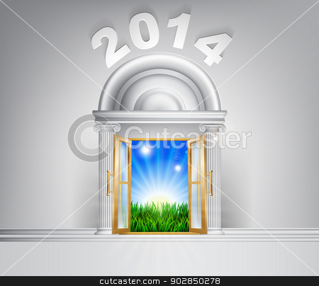 New Year Hope Door Concept 2014 stock vector clipart, New Year 2014 door concept. A conceptual illustration for a happy verdant future of a door opening onto a field of lush green grass by Christos Georghiou