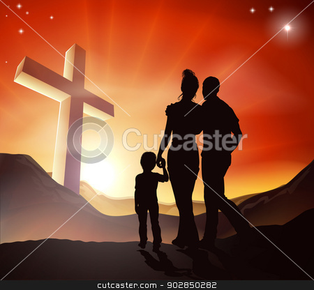 Christian Family Concept stock vector clipart, A Christian family walking towards a cross in a mountain landscape with sunrise over mountains, Christian lifestyle concept by Christos Georghiou