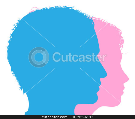 Couple faces silhouettes stock vector clipart, Couple faces silhouettes in profile, conceptual illustration of a man and woman  by Christos Georghiou