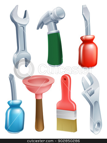 Cartoon tools icons set stock vector clipart, Cartoon tool icons set of a variety of work tools including a spanner, hammer, plunger, screwdriver and paintbrush by Christos Georghiou