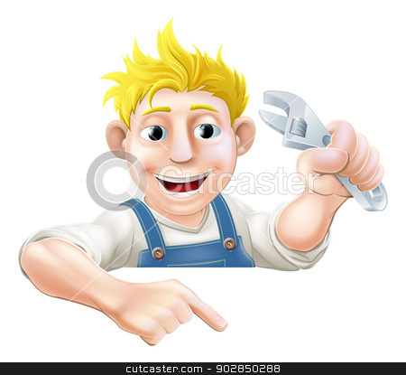 Cartoon mechanic peeping over banner stock vector clipart, A cartoon plumber or mechanic with a wrench or spanner peeking over sign or banner and pointing at it by Christos Georghiou