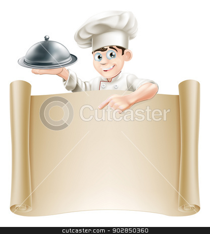 Chef Menu Banner stock vector clipart, Drawing of a chef holding a silver platter or cloche pointing at a paper scroll or menu by Christos Georghiou