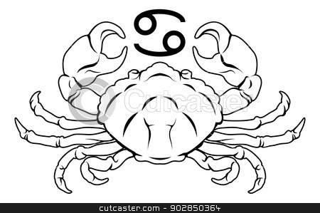 Cancer zodiac horoscope astrology sign stock vector clipart, Illustration of Cancer the crab zodiac horoscope astrology sign by Christos Georghiou