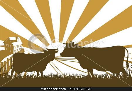 Sunrise Cow Farm Landscape stock vector clipart, An idyllic dairy farm landscape with cows in silhouette and farmhouse with the sun rising over rolling hills by Christos Georghiou