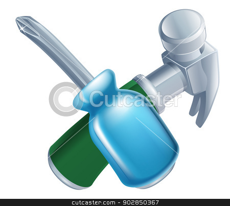 Crossed hammer and screwdriver tools stock vector clipart, Crossed hammer and screwdriver tools icon of cartoon tools crossed, construction or DIY or service concept by Christos Georghiou