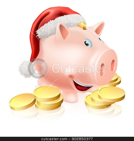 Saving for Christmas Concept stock vector clipart, Cartoon Christmas piggy bank with Santa hat on and gold coins. Concept for saving money for Christmas or Christmas club fund.  by Christos Georghiou