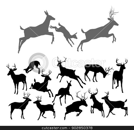 Deer Silhouettes stock vector clipart, Deer silhouettes including fawn, doe bucks and stags in various poses. Includes family group of stag doe and fawn running and jumping together by Christos Georghiou