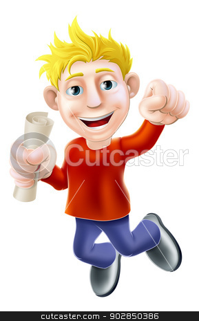 Exam pass concept stock vector clipart, Learning concept of a happy smiling man jumping in the air holding a scroll diploma or other pass certificate with hand in a fist  by Christos Georghiou