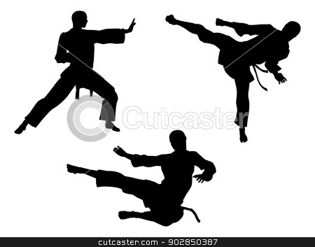 Karate Martial Art Silhouettes stock vector clipart, Karate martial art silhouettes of men in various karate or other martial art poses, including high kick and flying kick  by Christos Georghiou