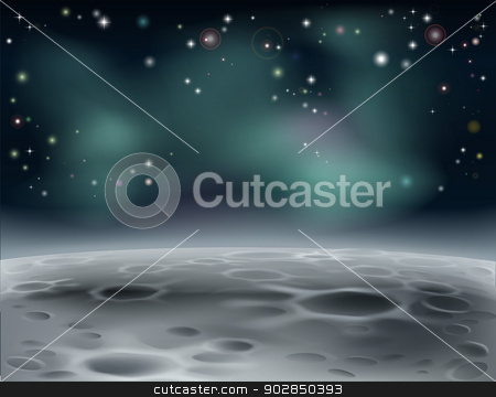 Moon background stock vector clipart, Moon surface or alien word in space background illustration with stars and craters by Christos Georghiou