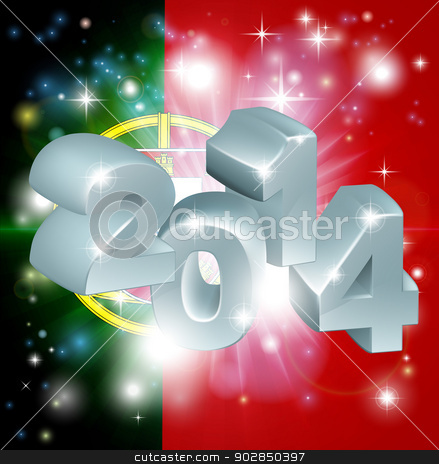 2014 Portugal flag stock vector clipart, Flag of Portugal 2014 background. New Year or similar concept by Christos Georghiou