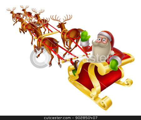 Santa Christmas Sleigh stock vector clipart, Cartoon Santa in his Christmas sleigh waving back at the viewer by Christos Georghiou