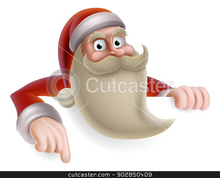 Santa Christmas Sign stock vector clipart, Cartoon Christmas illustration of cartoon Santa Claus pointing at a banner by Christos Georghiou