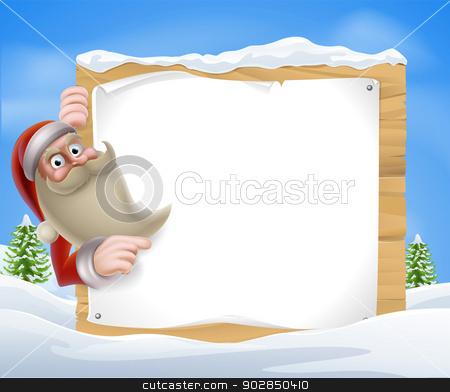 Santa Christmas Banner stock vector clipart, A Santa Christmas Winter Scene of Santa pointing at a winter sign  by Christos Georghiou