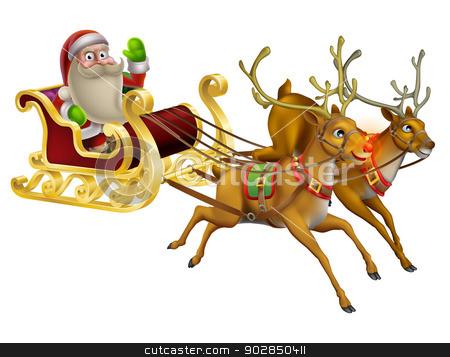 Santa Claus Christmas Sleigh stock vector clipart, A Santa Claus Christmas Sleigh illustration with Santa Claus riding in his Christmas sleigh by Christos Georghiou