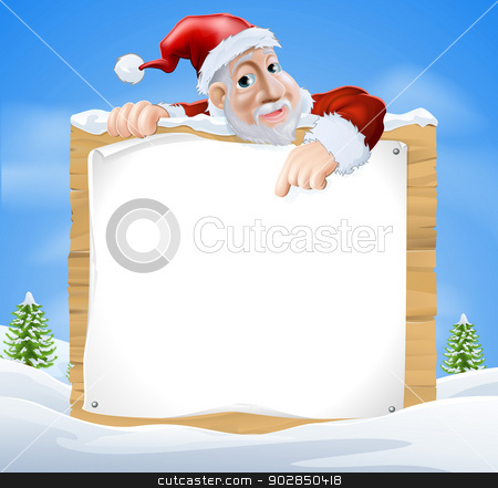 Santa Claus Sign Winter scene  stock vector clipart, Santa Claus sign winter scene with cartoon Santa pointing down at snow covered sign by Christos Georghiou