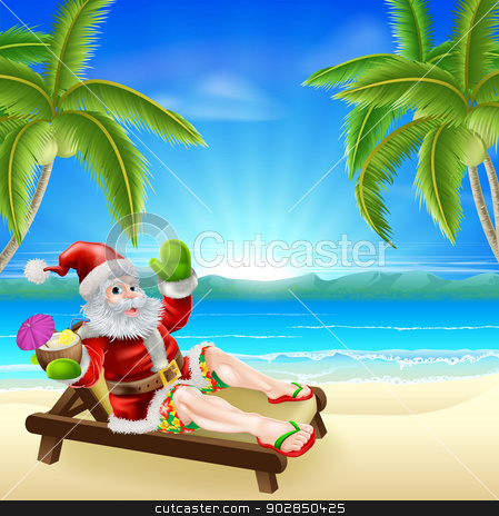 Summer Christmas Santa Beach Scene stock vector clipart, Christmas illustration of summer Santa relaxing in a sun lounger on the beach under a palm tree with a drink and wearing Bermuda or Hawaiian board shorts and flip flop sandals. by Christos Georghiou