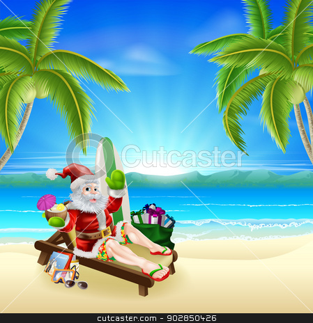 Santa Relaxing on Hot Sunny Beach stock vector clipart, Santa Christmas illustration. Santa relaxing in on the beach under palm trees with surf board, presents sack and other holiday items with a tropical drink, wearing board shorts and flip flop sandals. by Christos Georghiou