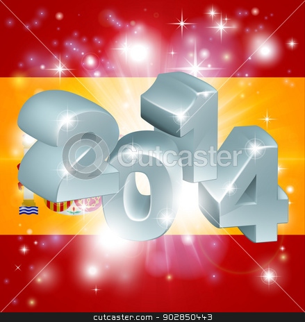 2014 Spanish flag stock vector clipart, Flag of Spain 2014 background. New Year or similar concept by Christos Georghiou