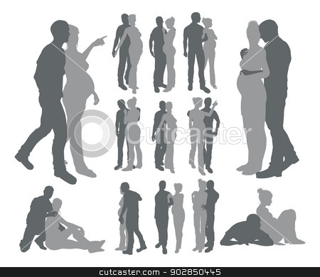 Couple silhouettes pregnant woman stock vector clipart, High quality detailed silhouettes of a young couple with pregnant woman in various poses by Christos Georghiou