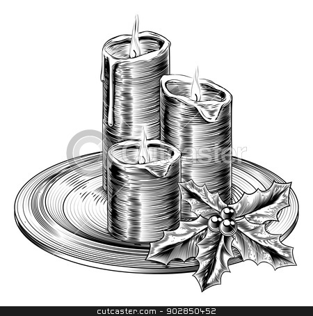 Vintage Christmas Candles and Holly stock vector clipart, Illustration of vintage Christmas candles and holly decorations on a plate by Christos Georghiou