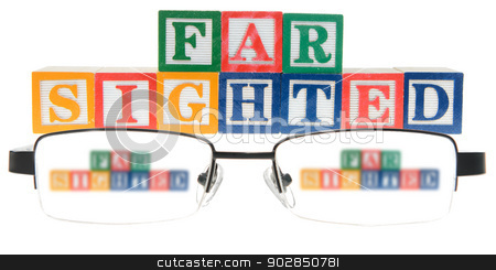 Letter blocks spelling far sighted with a pair of glasses stock photo, Letter blocks spelling far sighted with a pair of glasses. Isolated on a white background. by Richard Nelson