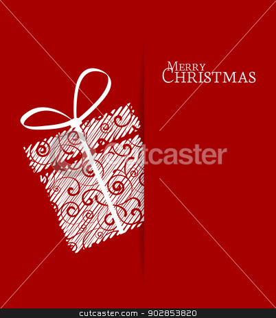 Christmas present stock vector clipart, Christmas present on a red background by Miroslava Hlavacova