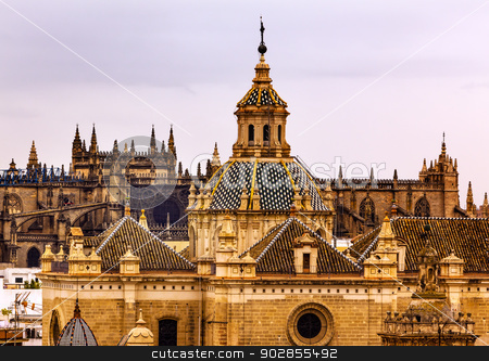 Church of El Salvador Andalusia Seville Spain Under Stormy Skies stock photo, Church of El Salvador, Iglesia de El Salvador, Dome with Cross, Seville Andalusia Spain Under Stormy Skies.  Built in the 1700s.  Second largest church in Seville. by William Perry